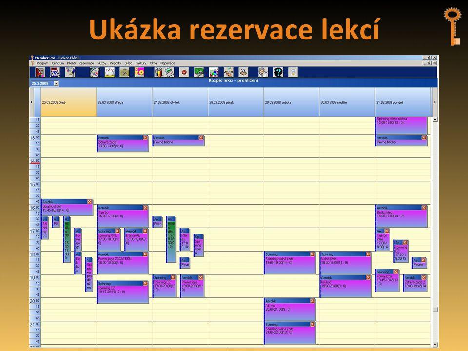 Ukázka rezervace lekcí