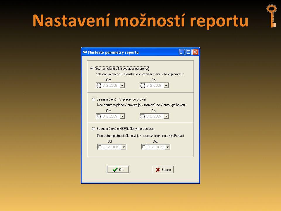 Nastavení možností reportu