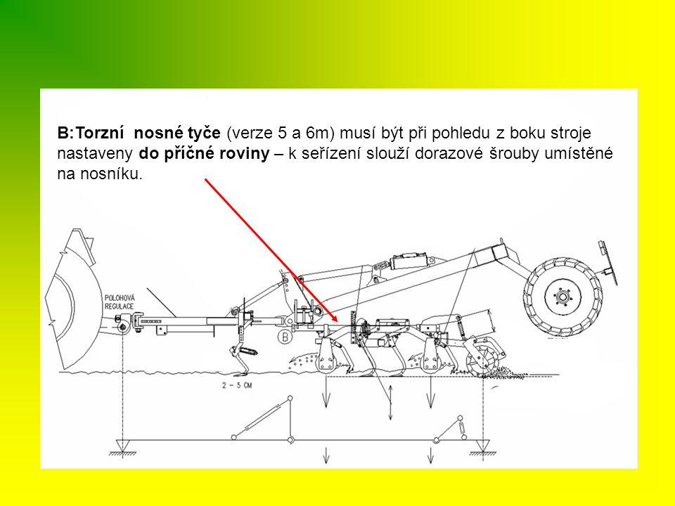B:Torzní nosné tyče (verze 5 a 6m) musí být při pohledu z boku stroje nastaveny do příčné roviny – k seřízení slouží dorazové šrouby umístěné na nosní