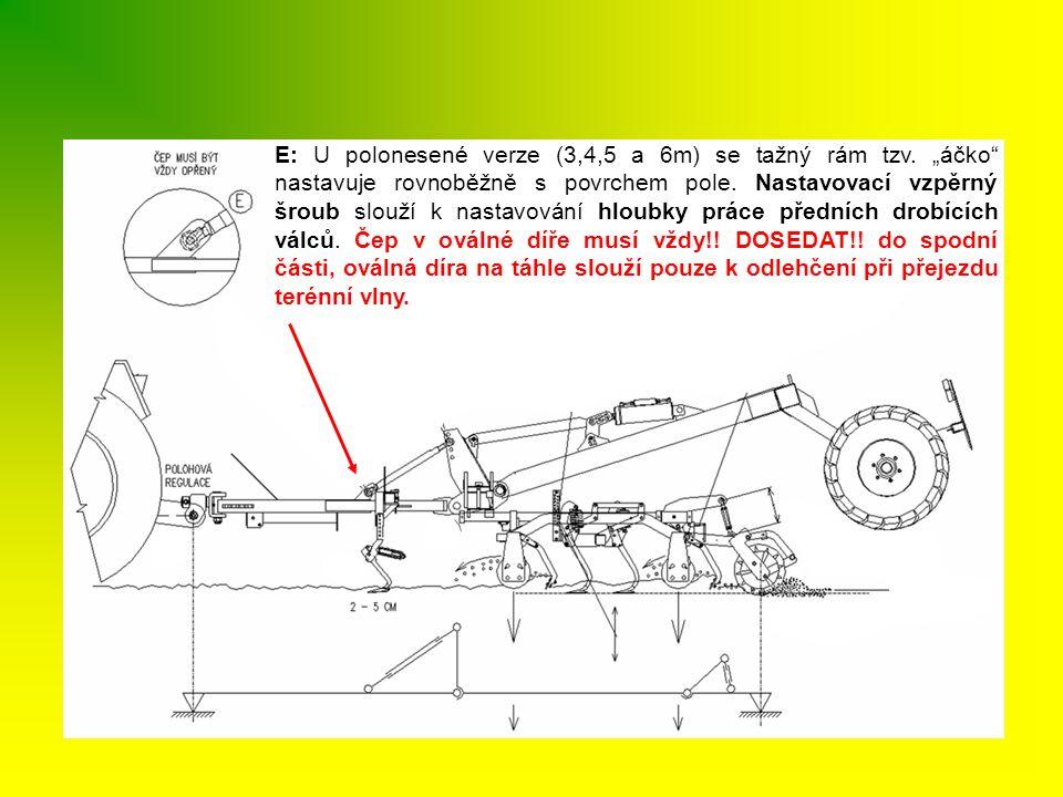 """E: U polonesené verze (3,4,5 a 6m) se tažný rám tzv. """"áčko"""" nastavuje rovnoběžně s povrchem pole. Nastavovací vzpěrný šroub slouží k nastavování hloub"""