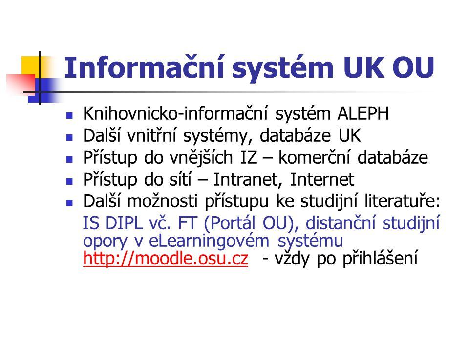 Informační systém UK OU Knihovnicko-informační systém ALEPH Další vnitřní systémy, databáze UK Přístup do vnějších IZ – komerční databáze Přístup do s