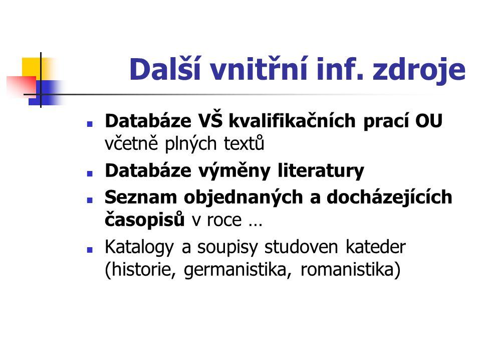Další vnitřní inf. zdroje Databáze VŠ kvalifikačních prací OU včetně plných textů Databáze výměny literatury Seznam objednaných a docházejících časopi