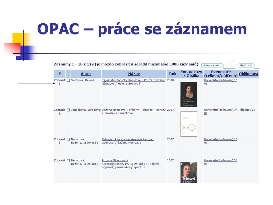OPAC – práce se záznamem