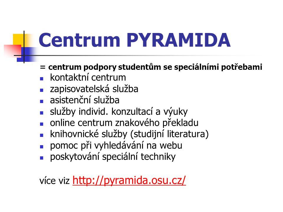 Centrum PYRAMIDA = centrum podpory studentům se speciálními potřebami kontaktní centrum zapisovatelská služba asistenční služba služby individ. konzul