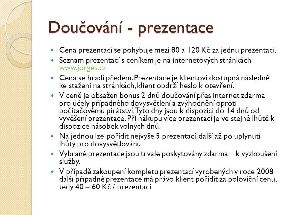 Doučování - prezentace Cena prezentací se pohybuje mezi 80 a 120 Kč za jednu prezentaci.