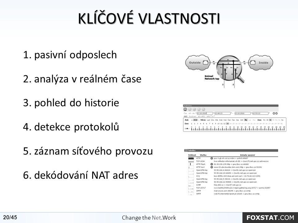 KLÍČOVÉVLASTNOSTI KLÍČOVÉ VLASTNOSTI 1.pasivní odposlech 2.analýza v reálném čase 3.pohled do historie 4.detekce protokolů 5.záznam síťového provozu 6