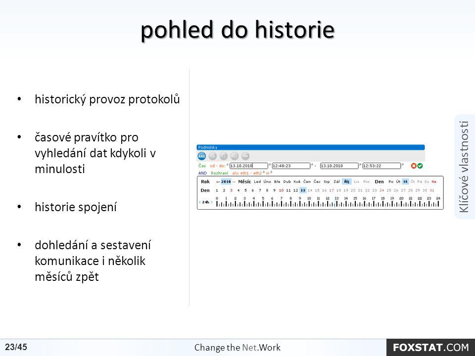 historický provoz protokolů časové pravítko pro vyhledání dat kdykoli v minulosti historie spojení dohledání a sestavení komunikace i několik měsíců z
