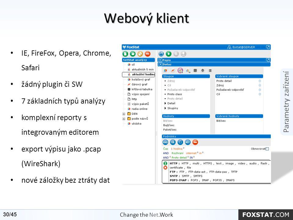 Parametry zařízení IE, FireFox, Opera, Chrome, Safari žádný plugin či SW 7 základních typů analýzy komplexní reporty s integrovaným editorem export vý
