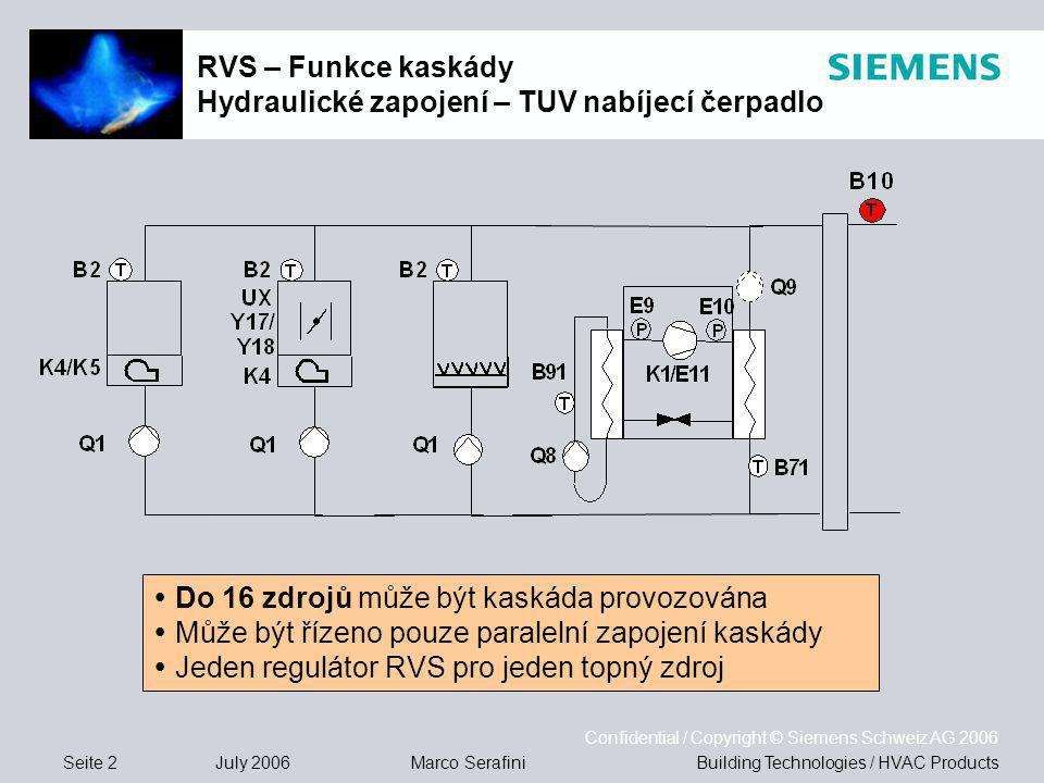Seite 2 July 2006 Confidential / Copyright © Siemens Schweiz AG 2006 Building Technologies / HVAC ProductsMarco Serafini RVS – Funkce kaskády Hydraulické zapojení – TUV nabíjecí čerpadlo  Do 16 zdrojů může být kaskáda provozována  Může být řízeno pouze paralelní zapojení kaskády  Jeden regulátor RVS pro jeden topný zdroj