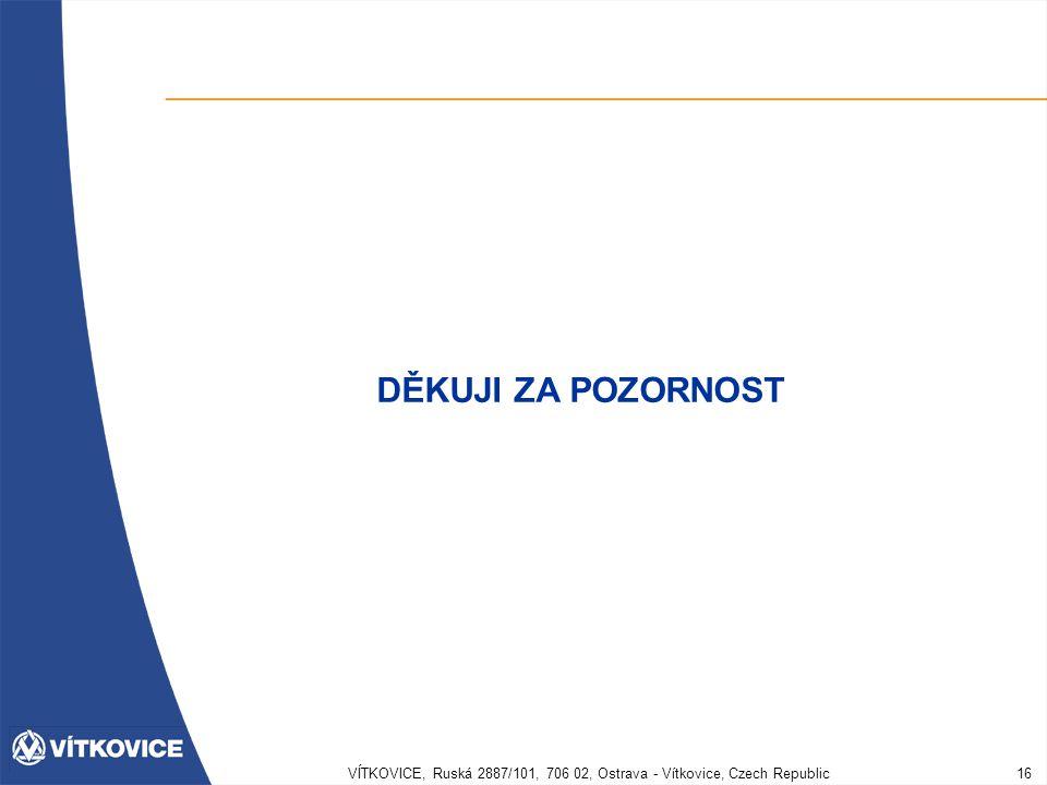 VÍTKOVICE, Ruská 2887/101, 706 02, Ostrava - Vítkovice, Czech Republic16 DĚKUJI ZA POZORNOST