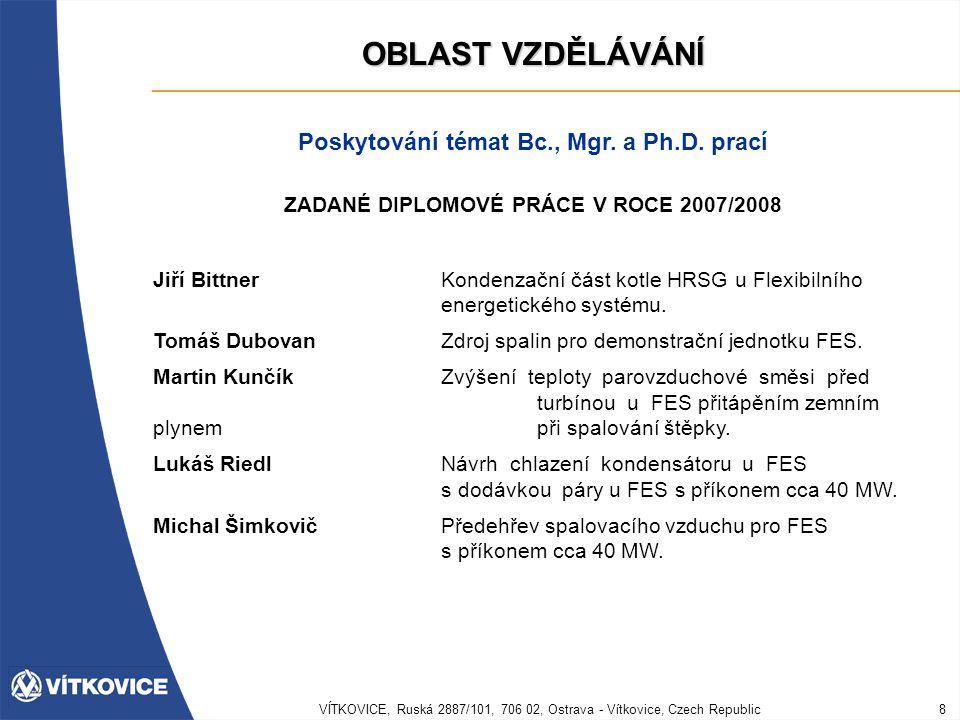 VÍTKOVICE, Ruská 2887/101, 706 02, Ostrava - Vítkovice, Czech Republic8 OBLAST VZDĚLÁVÁNÍ Poskytování témat Bc., Mgr. a Ph.D. prací ZADANÉ DIPLOMOVÉ P