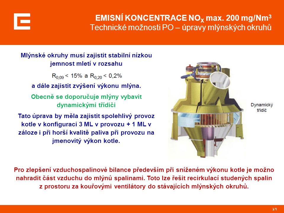 19 EMISNÍ KONCENTRACE NO X max. 200 mg/Nm 3 Technické možnosti PO – úpravy mlýnských okruhů Pro zlepšení vzduchospalinové bilance především při snížen