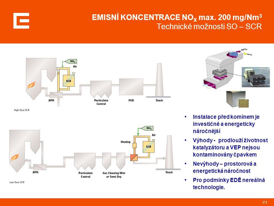 23 EMISNÍ KONCENTRACE NO X max. 200 mg/Nm 3 Technické možnosti SO – SCR Instalace před komínem je investičně a energeticky náročnější Výhody - prodlou