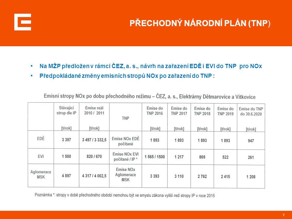 7 PŘECHODNÝ NÁRODNÍ PLÁN (TNP) Na MŽP předložen v rámci ČEZ, a. s., návrh na zařazení EDĚ i EVI do TNP pro NOx Předpokládané změny emisních stropů NOx