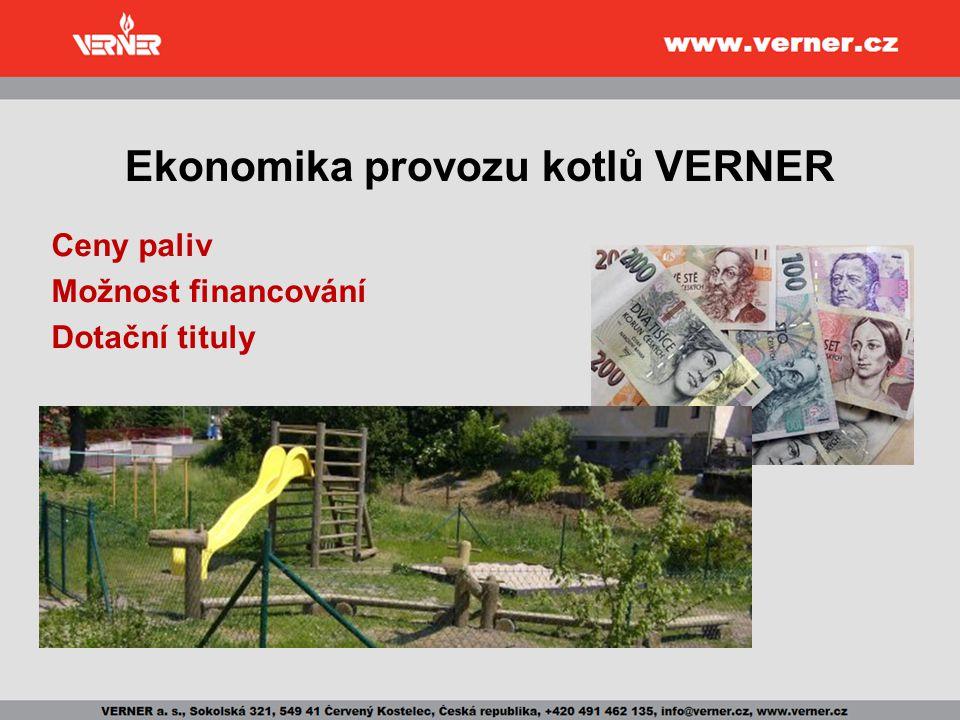 Ekonomika provozu kotlů VERNER Ceny paliv Možnost financování Dotační tituly