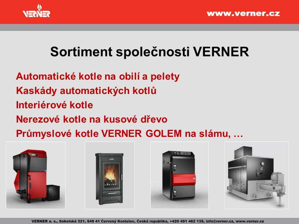 Automatické kotle VERNER Automatické teplovodní kotle VERNER jsou určeny pro: komfortní, úsporné a ekologické vytápění rodinných domků, bytových jednotek, dílen, provozoven a obdobných objektů Přednosti automatických kotlů VERNER: Schopnost spalovat různé typy paliv Výborná regulovatelnost Vysoká účinnost (92,7 %) Komfort obsluhy Dlouhá životnost Pohyblivý rošt