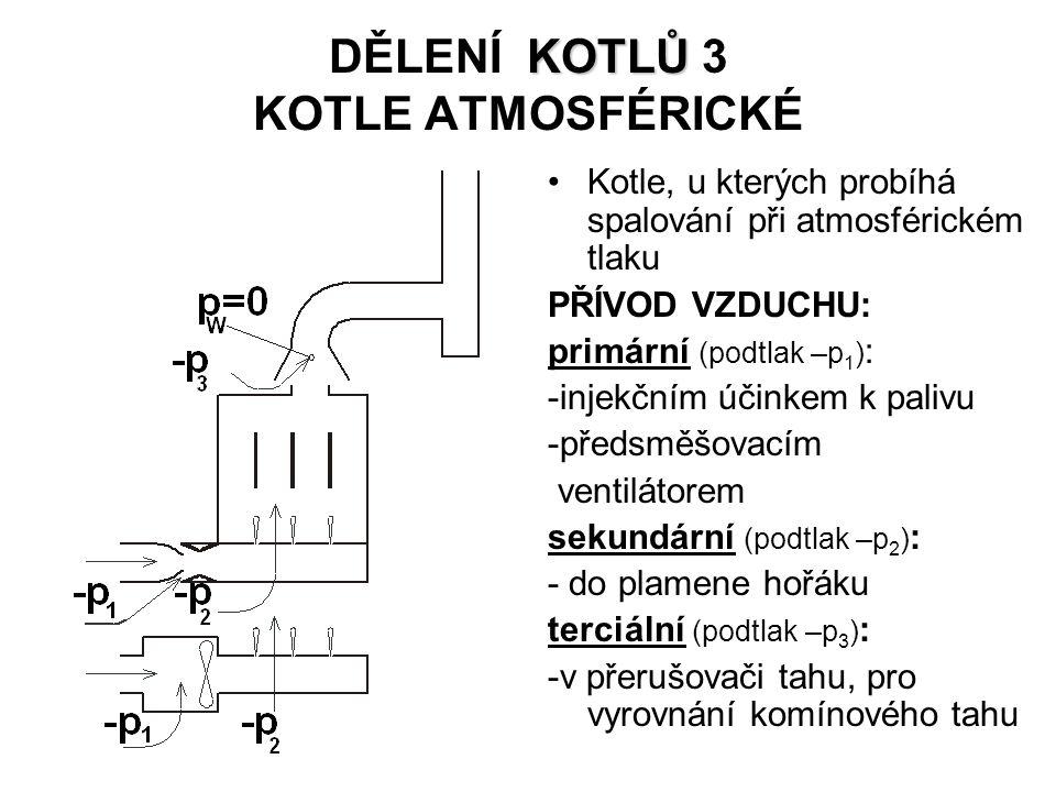 KOTLŮ DĚLENÍ KOTLŮ 3 KOTLE ATMOSFÉRICKÉ Kotle, u kterých probíhá spalování při atmosférickém tlaku PŘÍVOD VZDUCHU: primární (podtlak –p 1 ) : -injekčním účinkem k palivu -předsměšovacím ventilátorem sekundární (podtlak –p 2 ) : - do plamene hořáku terciální (podtlak –p 3 ) : -v přerušovači tahu, pro vyrovnání komínového tahu
