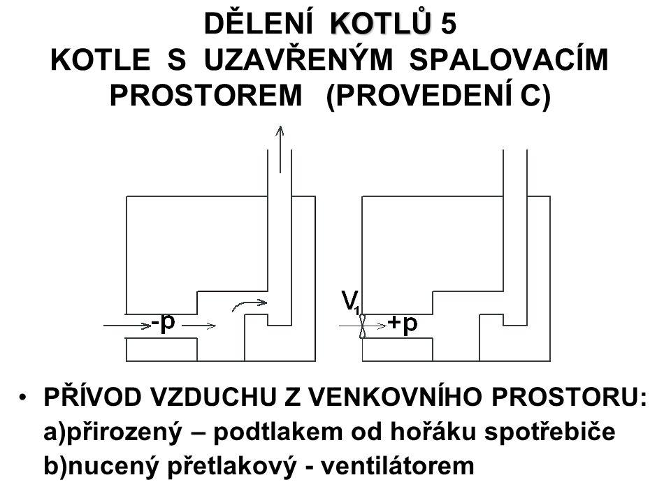 KOTLŮ DĚLENÍ KOTLŮ 5 KOTLE S UZAVŘENÝM SPALOVACÍM PROSTOREM (PROVEDENÍ C) PŘÍVOD VZDUCHU Z VENKOVNÍHO PROSTORU: a)přirozený – podtlakem od hořáku spotřebiče b)nucený přetlakový - ventilátorem