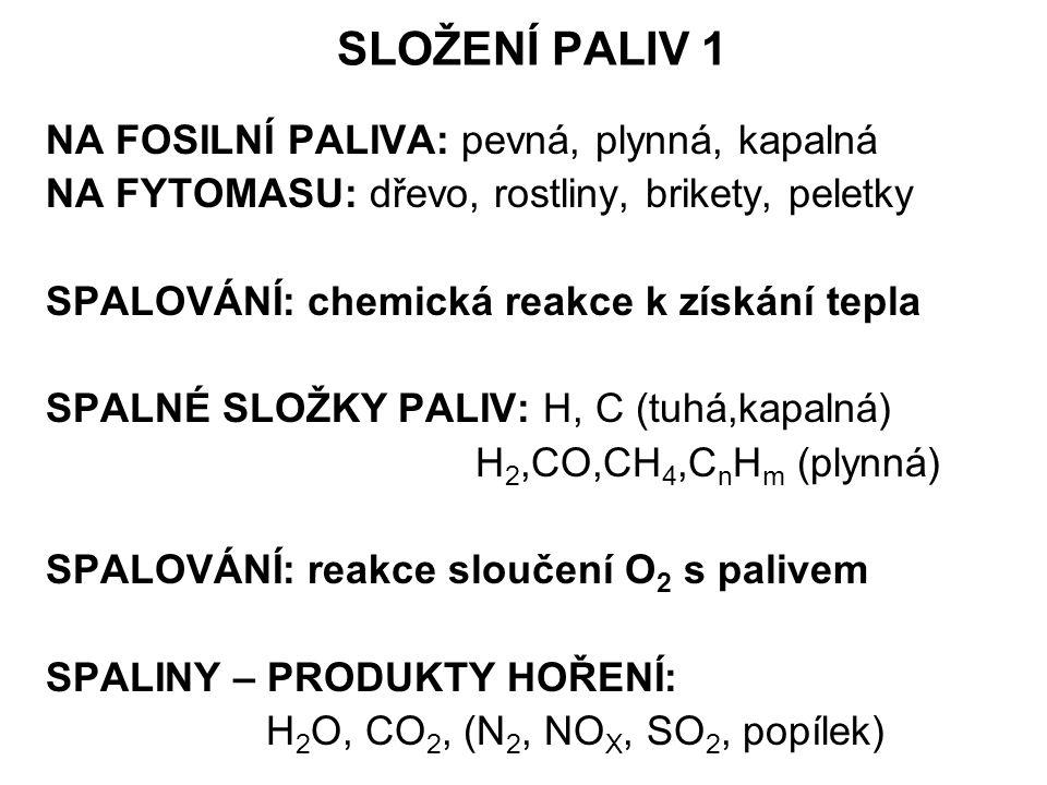 SLOŽENÍ PALIV 1 NA FOSILNÍ PALIVA: pevná, plynná, kapalná NA FYTOMASU: dřevo, rostliny, brikety, peletky SPALOVÁNÍ: chemická reakce k získání tepla SPALNÉ SLOŽKY PALIV: H, C (tuhá,kapalná) H 2,CO,CH 4,C n H m (plynná) SPALOVÁNÍ: reakce sloučení O 2 s palivem SPALINY – PRODUKTY HOŘENÍ: H 2 O, CO 2, (N 2, NO X, SO 2, popílek)