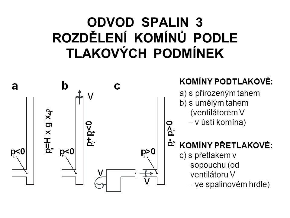ODVOD SPALIN 3 ROZDĚLENÍ KOMÍNŮ PODLE TLAKOVÝCH PODMÍNEK KOMÍNY PODTLAKOVÉ: a) s přirozeným tahem b) s umělým tahem (ventilátorem V – v ústí komína) KOMÍNY PŘETLAKOVÉ: c) s přetlakem v sopouchu (od ventilátoru V – ve spalinovém hrdle)