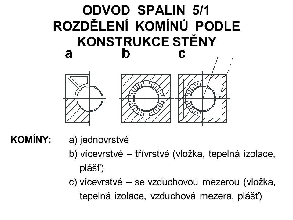 ODVOD SPALIN 5/1 ROZDĚLENÍ KOMÍNŮ PODLE KONSTRUKCE STĚNY KOMÍNY: a) jednovrstvé b) vícevrstvé – třívrstvé (vložka, tepelná izolace, plášť) c) vícevrst