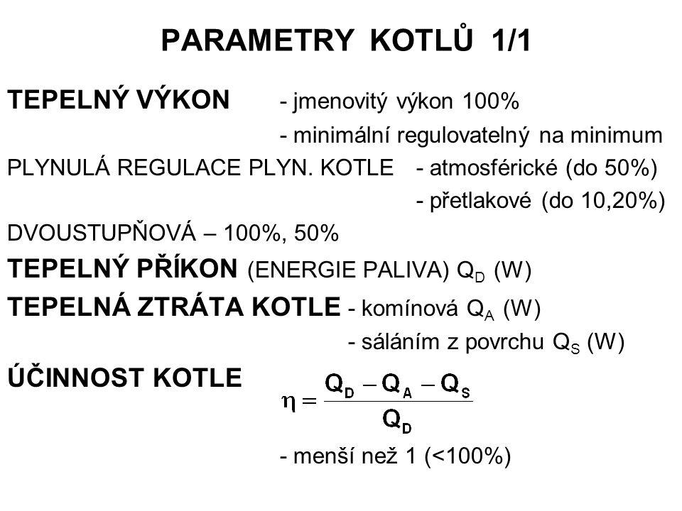 PARAMETRY KOTLŮ 1/1 TEPELNÝ VÝKON - jmenovitý výkon 100% - minimální regulovatelný na minimum PLYNULÁ REGULACE PLYN. KOTLE- atmosférické (do 50%) - př