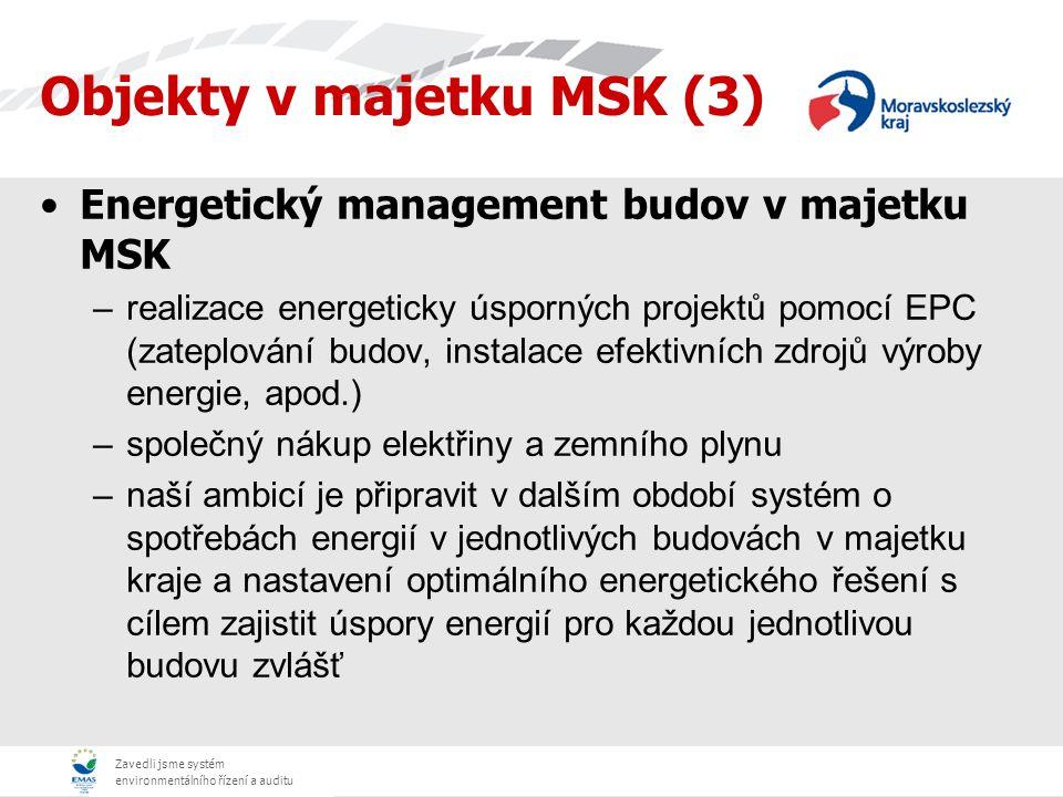 Zavedli jsme systém environmentálního řízení a auditu Energetický management budov v majetku MSK –realizace energeticky úsporných projektů pomocí EPC