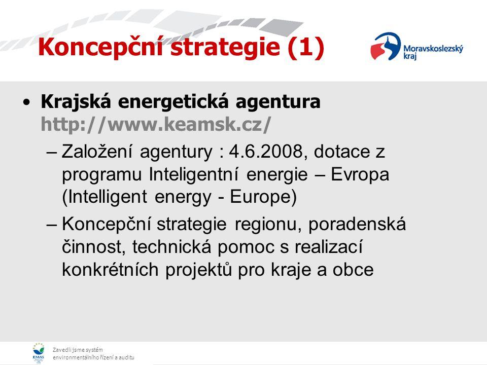 Zavedli jsme systém environmentálního řízení a auditu Koncepční strategie (1) Moravskoslezský energetický klastr http://www.energetickynezavislykraj.cz/ –Podpora projektu Energeticky nezávislý kraj jehož cílem je v prvé fázi zmapovat zdroje výroby energií, stávající a budoucí energetickou potřebu a navrhnout novou energetickou koncepci s ohledem na budoucí rozvoj Moravskoslezského kraje