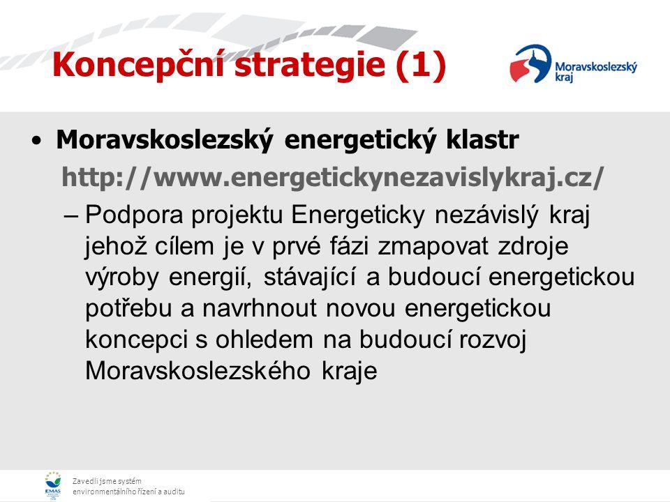 Zavedli jsme systém environmentálního řízení a auditu Dotační programy (2) Poskytnutí investičních dotací od roku 2003 do 2007 (od roku 2007 OPŽP) na vypracování projektové dokumentace, energetických auditů nebo dokumentací EIA pro realizaci projektů, které jsou uplatňovány pro získávání podpor z Evropské unie a z národních zdrojů s cílem zvýšení absorpční kapacity Moravskoslezského kraje.