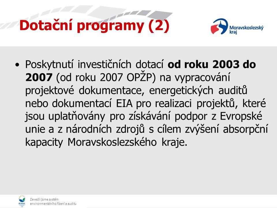 Zavedli jsme systém environmentálního řízení a auditu Dotační programy (2) Poskytnutí investičních dotací od roku 2003 do 2007 (od roku 2007 OPŽP) na