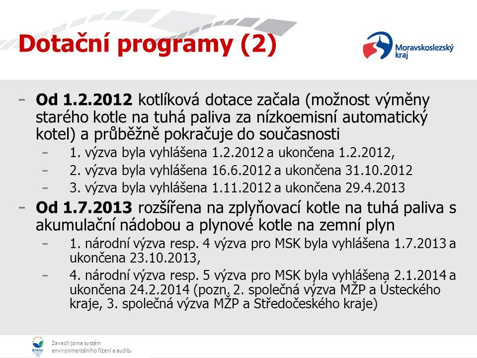 Zavedli jsme systém environmentálního řízení a auditu - Od 1.2.2012 kotlíková dotace začala (možnost výměny starého kotle na tuhá paliva za nízkoemisn