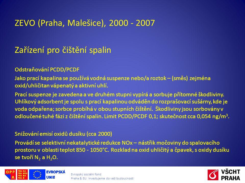 Evropský sociální fond Praha & EU: Investujeme do vaší budoucnosti ZEVO (Praha, Malešice), 2000 - 2007 Zařízení pro čištění spalin Odstraňování PCDD/P
