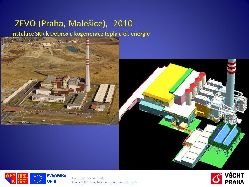 Evropský sociální fond Praha & EU: Investujeme do vaší budoucnosti ZEVO (Praha, Malešice), 2010 instalace SKR k DeDiox a kogenerace tepla a el. energi