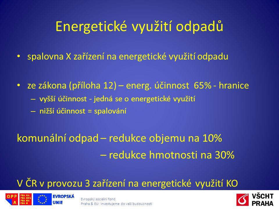 Evropský sociální fond Praha & EU: Investujeme do vaší budoucnosti Energetické využití odpadů spalovna X zařízení na energetické využití odpadu ze zák