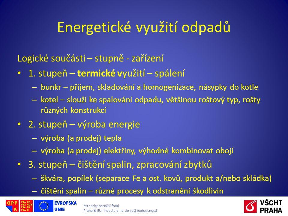 Evropský sociální fond Praha & EU: Investujeme do vaší budoucnosti Energetické využití odpadů Logické součásti – stupně - zařízení 1. stupeň – termick