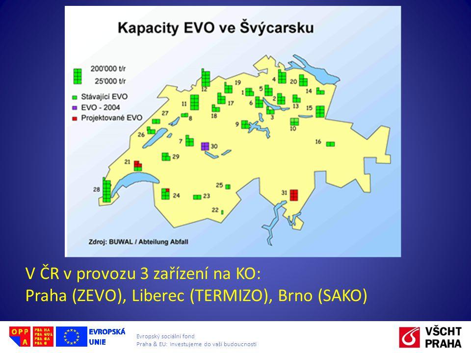 Evropský sociální fond Praha & EU: Investujeme do vaší budoucnosti V ČR v provozu 3 zařízení na KO: Praha (ZEVO), Liberec (TERMIZO), Brno (SAKO)