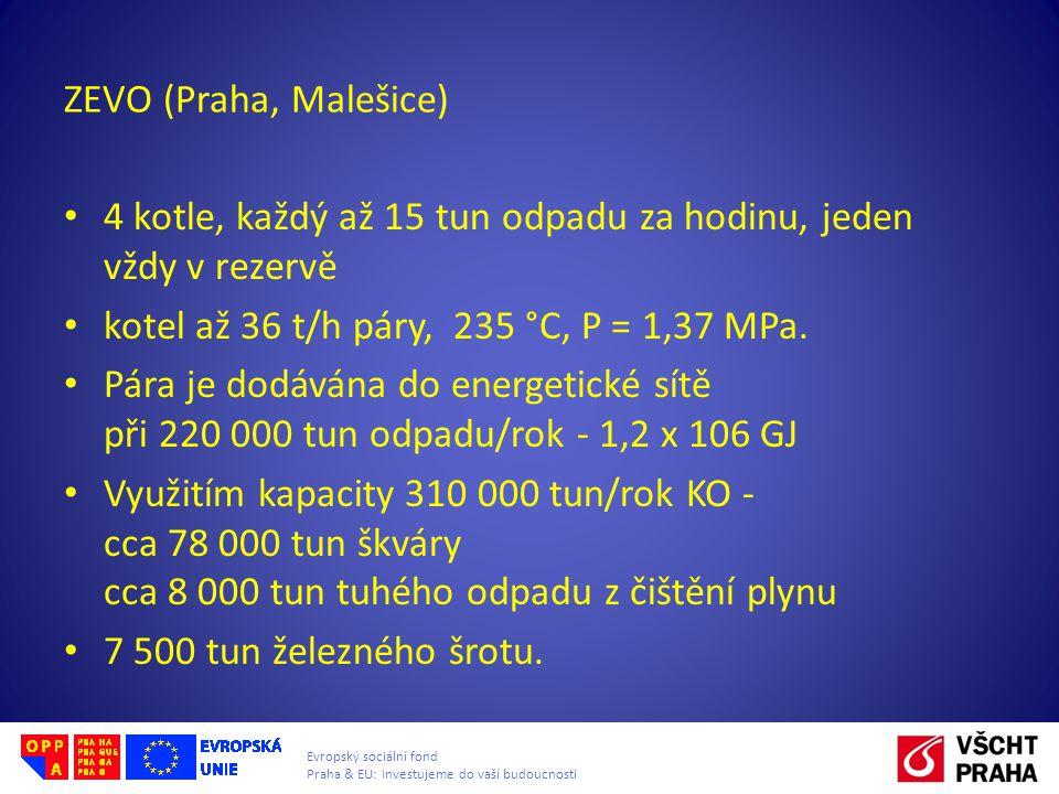 ZEVO (Praha, Malešice) 4 kotle, každý až 15 tun odpadu za hodinu, jeden vždy v rezervě kotel až 36 t/h páry, 235 °C, P = 1,37 MPa. Pára je dodávána do