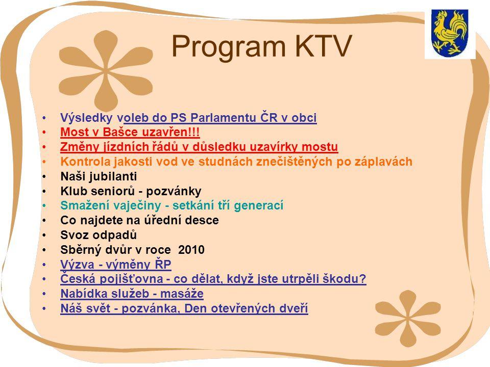 Program KTV Výsledky voleb do PS Parlamentu ČR v obci Most v Bašce uzavřen!!! Změny jízdních řádů v důsledku uzavírky mostu Kontrola jakosti vod ve st