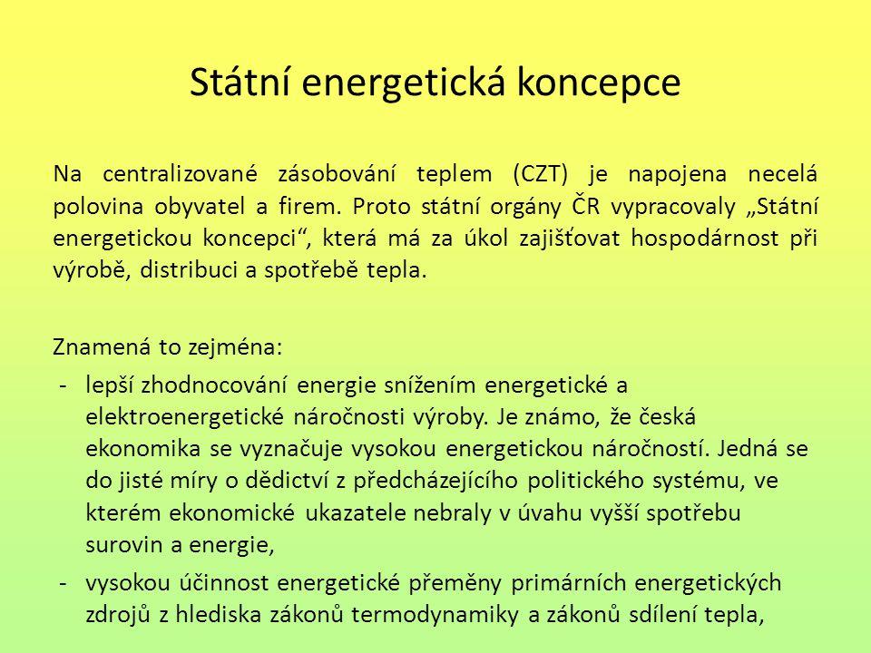 Státní energetická koncepce Na centralizované zásobování teplem (CZT) je napojena necelá polovina obyvatel a firem. Proto státní orgány ČR vypracovaly