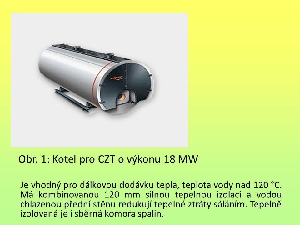 Obr. 1: Kotel pro CZT o výkonu 18 MW Je vhodný pro dálkovou dodávku tepla, teplota vody nad 120 °C. Má kombinovanou 120 mm silnou tepelnou izolaci a v