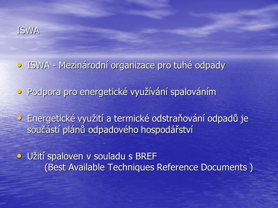 ISWA ISWA - Mezinárodní organizace pro tuhé odpady ISWA - Mezinárodní organizace pro tuhé odpady Podpora pro energetické využívání spalováním Podpora