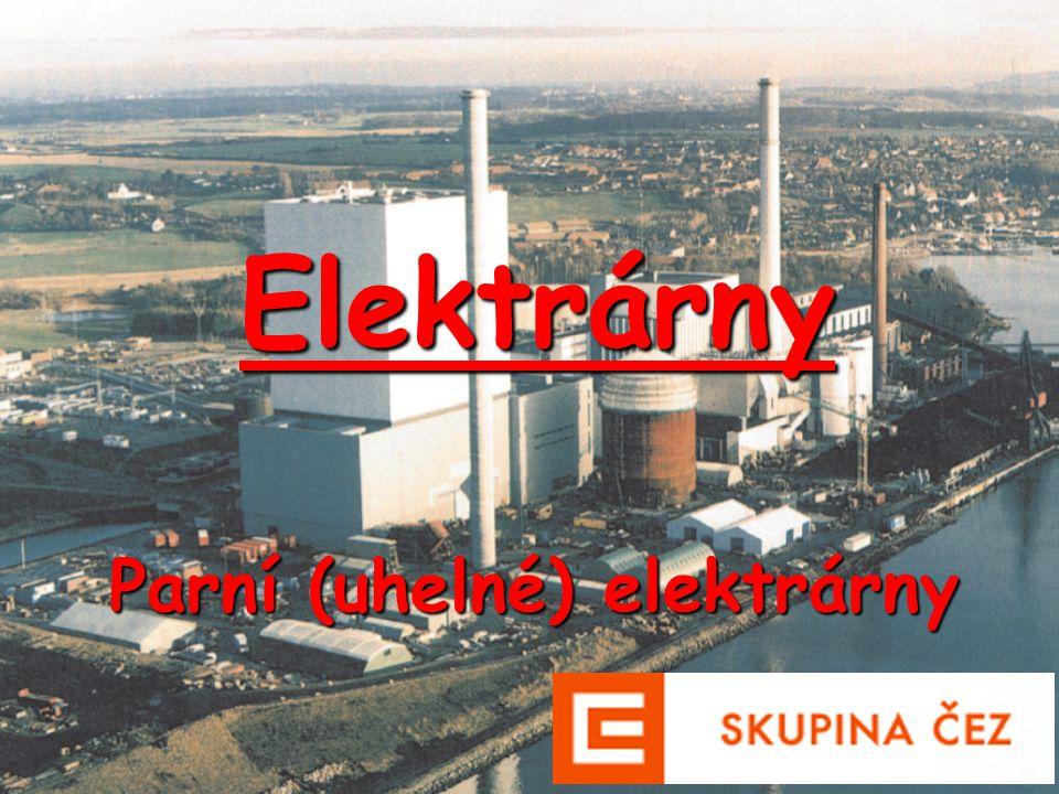 Rozdělení parních elektráren 1.Podle účelu a)elektrárny - slouží pouze k výrobě elektrické energie b)teplárny - slouží k výrobě elektrické a tepelné energie c)výtopny- slouží pouze k výrobě tepelné energie 2.Podle turbíny a)kondenzační - slouží pouze k výrobě elektrické energie b)odběrová- teplárny c)protitlaká- teplárny