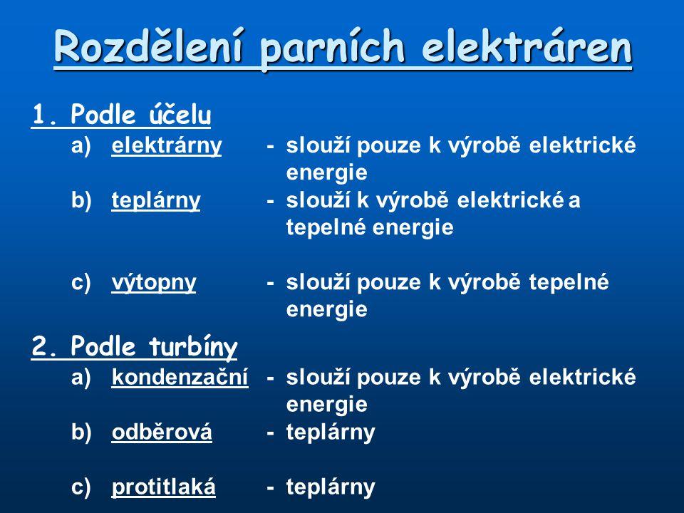 Rozdělení parních elektráren 1.Podle účelu a)elektrárny - slouží pouze k výrobě elektrické energie b)teplárny - slouží k výrobě elektrické a tepelné e