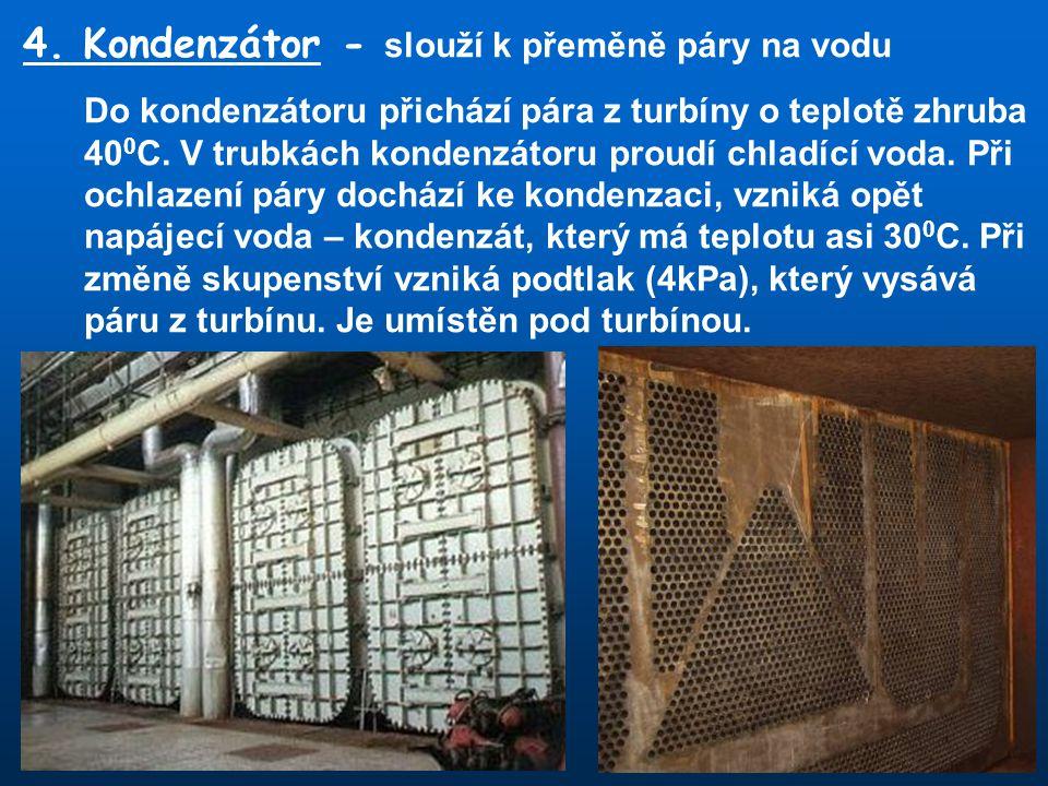 4. Kondenzátor - slouží k přeměně páry na vodu Do kondenzátoru přichází pára z turbíny o teplotě zhruba 40 0 C. V trubkách kondenzátoru proudí chladíc