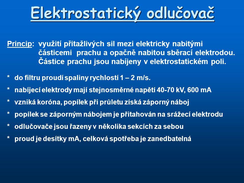 Elektrostatický odlučovač Princip: využití přitažlivých sil mezi elektricky nabitými částicemi prachu a opačně nabitou sběrací elektrodou. Částice pra