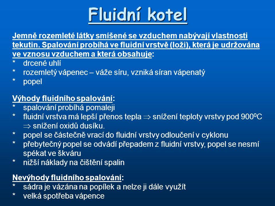 Fluidní kotel Jemně rozemleté látky smíšené se vzduchem nabývají vlastnosti tekutin. Spalování probíhá ve fluidní vrstvě (loži), která je udržována ve