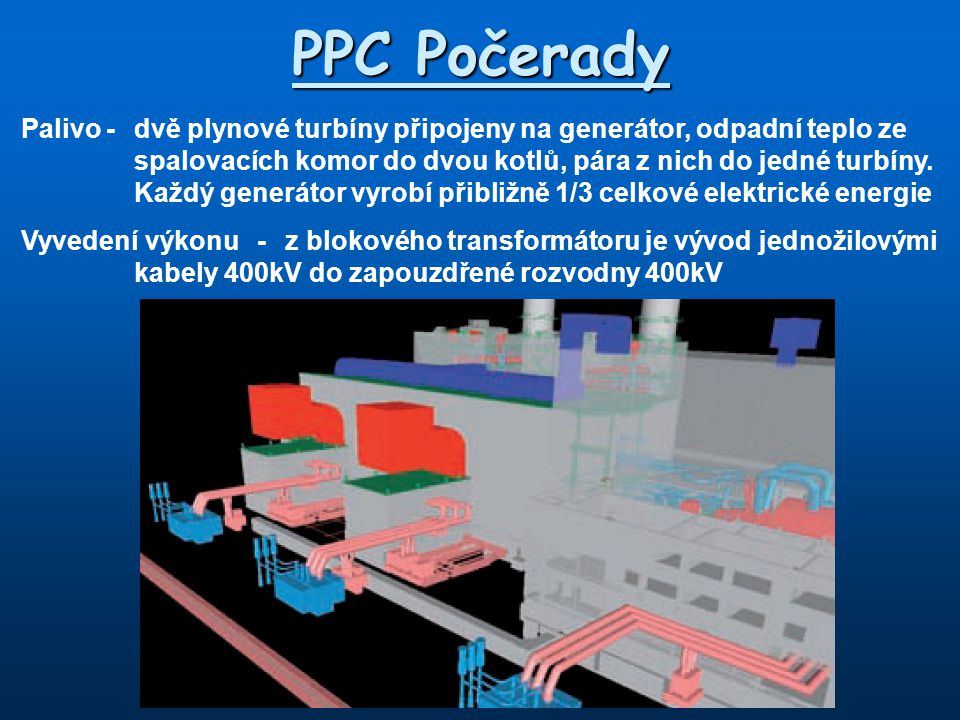 PPC Počerady Palivo-dvě plynové turbíny připojeny na generátor, odpadní teplo ze spalovacích komor do dvou kotlů, pára z nich do jedné turbíny. Každý