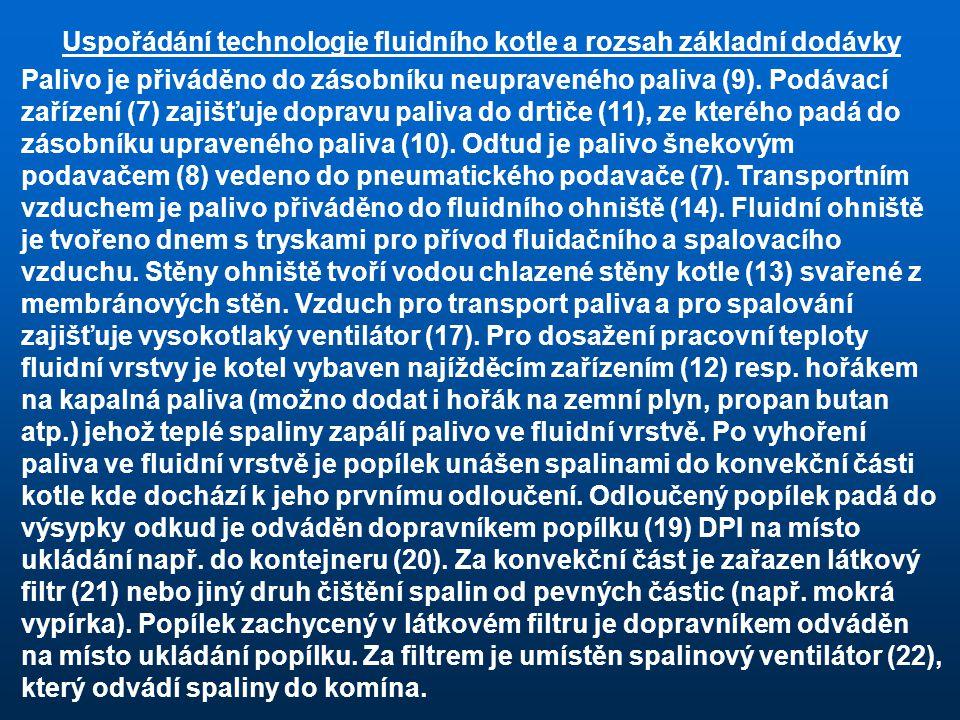 Uspořádání technologie fluidního kotle a rozsah základní dodávky Palivo je přiváděno do zásobníku neupraveného paliva (9). Podávací zařízení (7) zajiš
