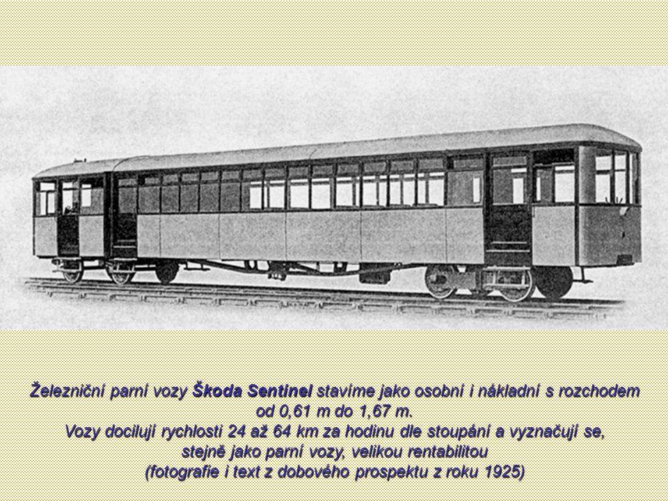 Parní vůz Škoda Sentinel zkoušený v roce 1936 jako železniční kolejové vozidlo