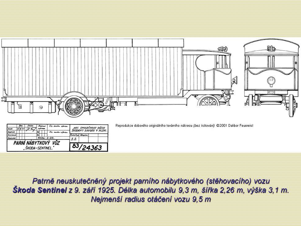 Železniční parní vozy Škoda Sentinel stavíme jako osobní i nákladní s rozchodem od 0,61 m do 1,67 m. Vozy docilují rychlosti 24 až 64 km za hodinu dle